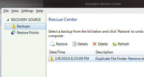 Auslogics Duplicate Finder Rescue Center