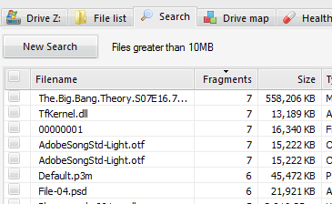 Defraggler Search Files