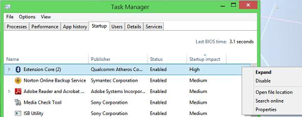 Windows 8 Startup Impact