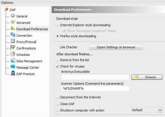 DAP Download Preference