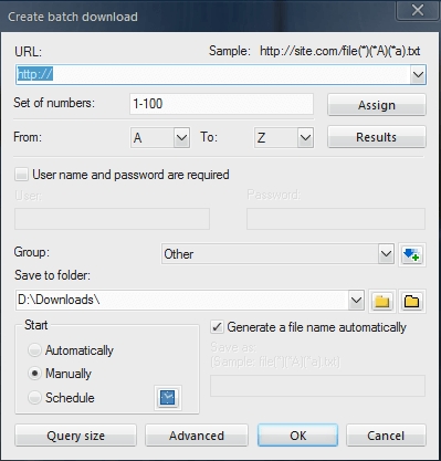 FDM Create Batch Downloads
