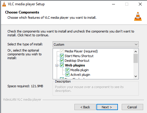 VLC Install Choose Components