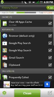 how to clear call history on nougat android