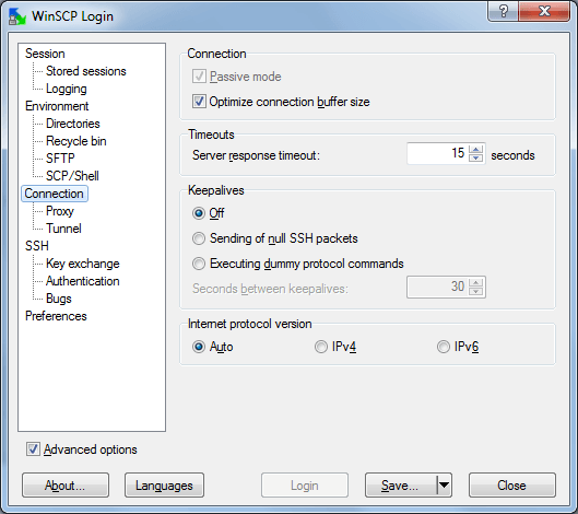 WinSCP Advanced Options