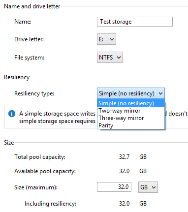 Windows 8 Create Storage Pool