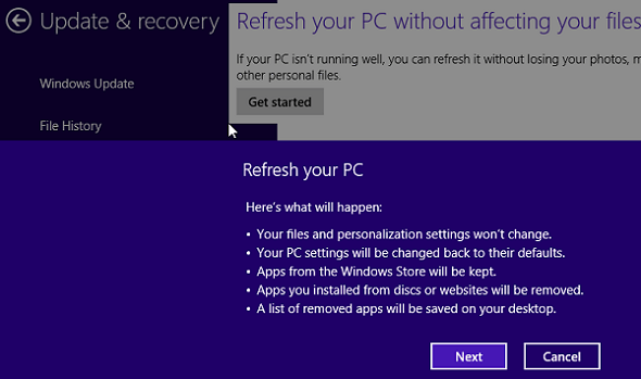 Windows 8 Refresh Option