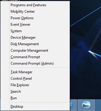 Windows Logo Key and X Keyboard Shortcut